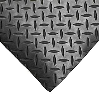 5m x 1.2m | Black Checker Rubber Garage Flooring Matting | 3mm Thick