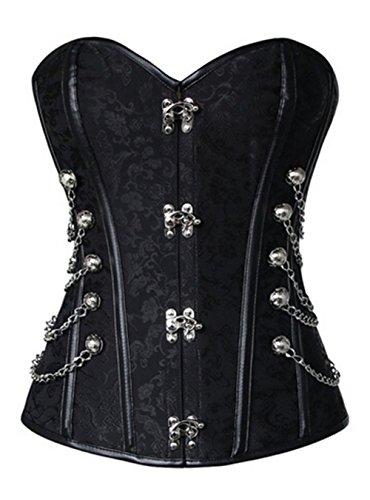 KUOSE Damen Vollbrust Faux Leder Steampunk Corsage Korsett Übergrößen S-6XL, Schwarz, 3XL(Eur42-44) (Gothic Kleid Frauen)