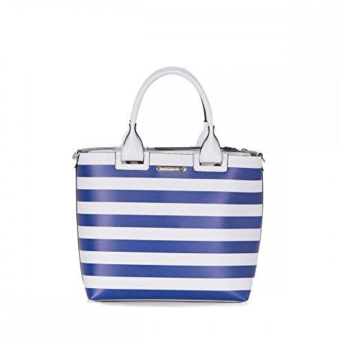 Arcadia Katie bande sac fourre-tout en cuir italien sac à main bleu
