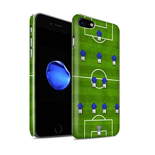 STUFF4 Matte Snap-On Hülle / Case für Apple iPhone 8 / 4-4-2/Weiß Muster / Fußball Bildung Kollektion 4-2-3-1/Blau