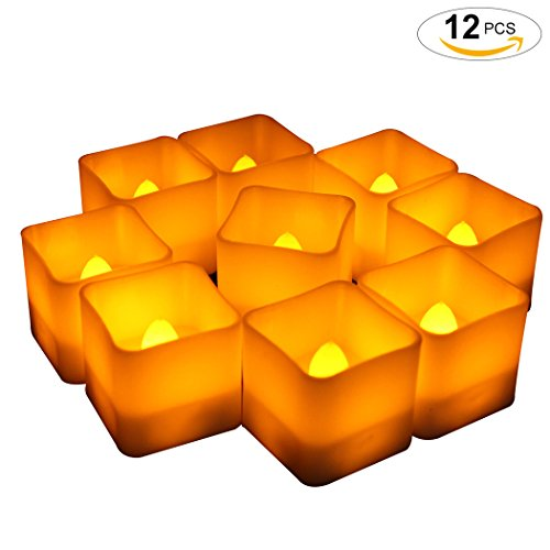 Vela Ligera, Funpa 12pcs Velas del LED Velas Sin Llama del Festival de las Luces del Té Sin Pilas Cuadradas