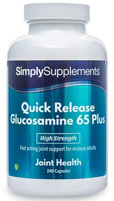 Quick Release Glucosamine 65 Plus | Fast Acting Glucosamine Supplement for The Over 65's | 240 Capsules | Manufactured in The UK