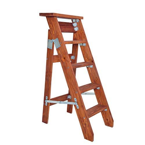 GXYGWJ Escalera Plegable de 5 peldaños de una Sola Cara Espiga Plegable Individual Recta de Madera Maciza Escalera de Escalada en el ático Soporte de Flores Escalera (Color : A)