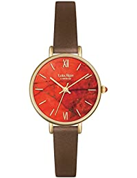 Lola Rose Women's Quartz Watch with Orange Dial Analogue Display and Brown Leather Strap LR2034