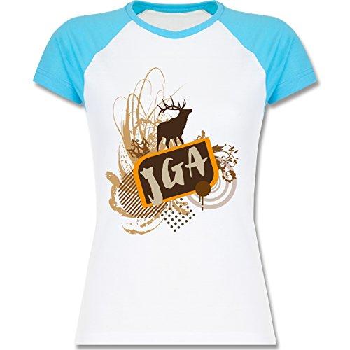 JGA Junggesellinnenabschied - JGA Hirsch Grunge - zweifarbiges Baseballshirt / Raglan T-Shirt für Damen Weiß/Türkis