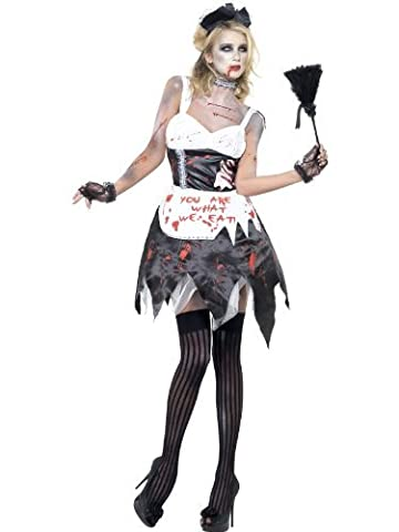 Smiffy's Fever Zombie French Maid Costume with Dress, Latex, Collar, Head Piece and Apron - Medium