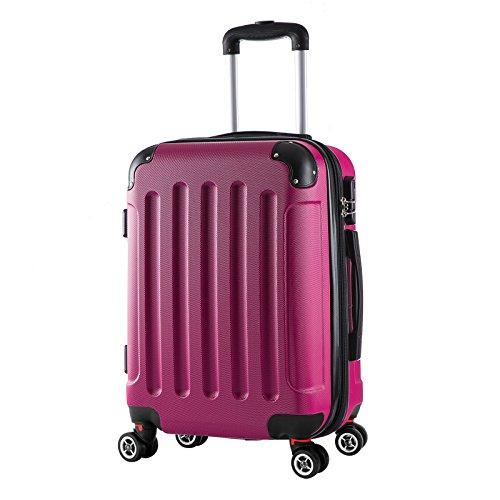 WOLTU RK4201pk, Reise Koffer Trolley Hartschale Volumen erweiterbar, Reisekoffer Hartschalenkoffer 4 Rollen, M/L/XL/Set, leicht und...