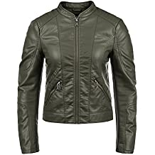 outlet store a4873 3c60e Giacca In Pelle Biker - Verde - Amazon.it