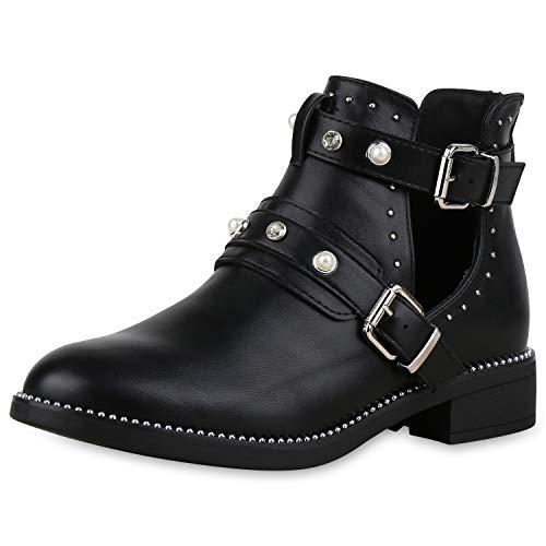 SCARPE VITA Damen Stiefeletten Ankle Boots Leder-Optik Schuhe Nieten Cut Out Booties Kurzschaft-Stiefel Zierperlen Strass 175097 Schwarz 39