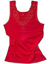 Débardeur - coton peigné - large empiècement dentelle - sans couture latérale - femme