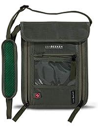 Brustbeutel Brusttasche mit RFID-Blockierung für Damen Herren – wasserabweisend, flach, leicht – Wasserdichter Umhängegeldbeutel, Reisegeldbeutel, Neck Pouch – VAN BEEKEN Reise-Pass-Tasche