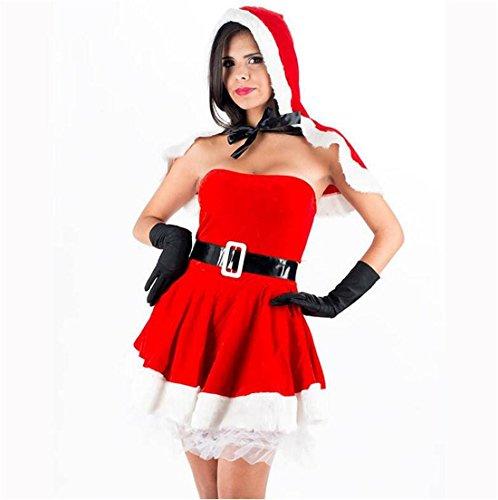 LIUZHI Santa Anzüge Party Kostüme Frau Weihnachten Karneval Silvester Fest/Feiertage Halloween Kostüme Patchwork , Red , (Kostüme Santa Komisch)