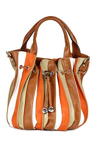 Belli 'Globe Bag ital. Nappaleder Shopper Handtasche Damentasche in weiß braun orange - 30x21x24 (B x H x T)