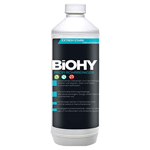 BIOHY Profi Rohrreiniger - 1 L. Flasche - flüssiges Hochkonzentrat Abflussreiniger Geruchsneutral für alle Verstopfungen EXTRA STARK