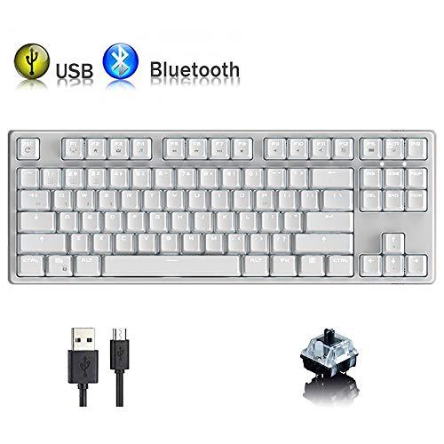 Hoopond Tastiera Meccanica, RK987 modalità Dual Bluetooth cablata/Wireless, Ricaricabile, 87 Tasti, 17 modalità di retroilluminazione, Tastiera da Gioco con Effetto retroilluminazione a LED Bianco