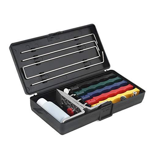 DKEyinx Messerschärfer, Fix-Winkel Wetzstein system, 5-IN-1 Abziehstein Schleifstein für Messer, mit Halter, Kunststoffbox Silber