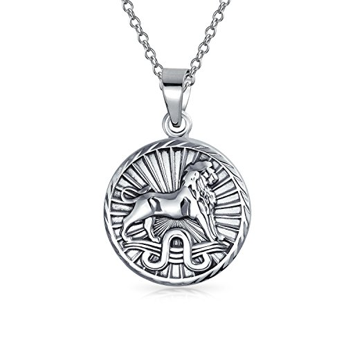 Leone segno zodiacale astrologia oroscopo rotonda ciondolo medaglione per uomini donne collana anticata sterling argento