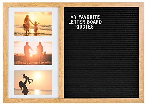 Gadgy ® Bilderrahmen Collage und Letter Board in Einem | 52,2 x 37,7 x 2 cm Groß | Mit 170 Weiße Buchstaben, Symbole & Zahlen