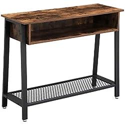 VASAGLE Table d'entrée Vintage, Table de Console, avec Étagère en Treillis et Casier Ouvert, Bout de canapé, pour Couloir, Salon, Bureau, Armature métallique Stable LNT93X