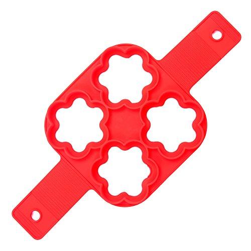 ubest Kuchenform Nonstick Silikon Ei Ring Pancakes Pfannkuchen Form, Blume (Ei-ring Mikrowelle)
