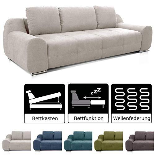 Cavadore Big Sofa Benderes / Schlafsofa mit Bettfunktion und Bettkasten/ Moderne Couch mit Steppung und Ziernaht / Inkl. 3 Kissen / Chromfüße / 266 x 70 x 102 (BxHxT) /  Grau/Weiß -
