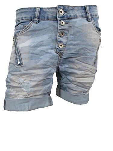 Zip BAGGY Denim Krempel Boyfriend baggy Stretch Shorts Bermuda Knöpfe offene Knopfleiste schräge Beinnaht Vintage Camouflage