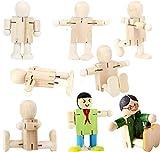 Liuer 8PCS Figuren Holzfiguren Dekoration DIY Figuren Deko zum Basteln Holz Puppen Holzpuppen zum Bemalen Kegel Figurenkegel Holzkegel Handwerk Tischdeko Hochzeits Baum Anhänger(Einstellbar Form)