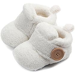 Butterme Botas de Cuna Con Suela Blanda para Bebé Cálida Botas de Piel Sintética Botas de Nieve Prewalker para Niños Pequeños