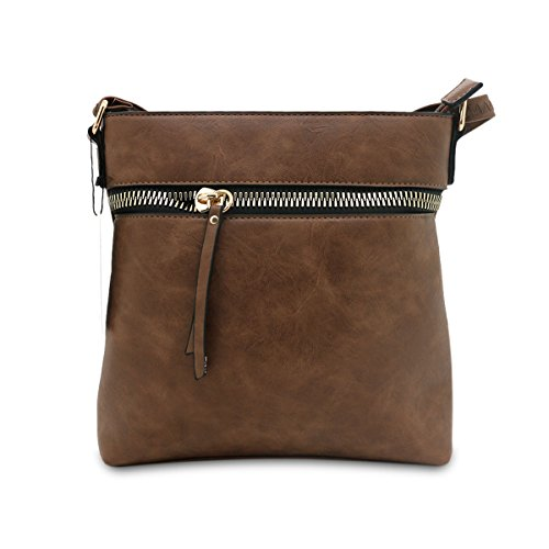 Borsa da donna Cool Girls Fashion a tracolla da donna in pelle nappa/Cross/secchio e zip Cross bag, panna COFFEE ZIP CROSS BODY BAG (2553)