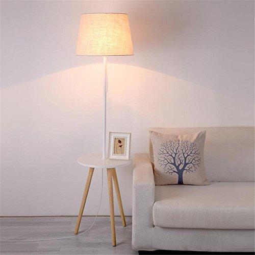 H&M Standleuchte Stehlampe Hölzerne Stativ-Stehlampe Moderne zeitgenössische Tablett Tisch Standing Leselicht Lampe mit Leinen Stoff Lampenschirm und Pull Line Switch für Schlafzimmer Wohnzimmer -