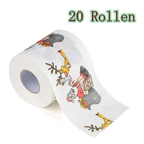 Zhen+ 10 | 20 | 40 | 80 | 160 Rollen 3-lagig Toilettenpapier, Motiv Weihnachten Klopapier bedrucktes Papierhandtücher Papier Toilettenpapier 170 Blatt je Rolle (A, 20 Rollen)