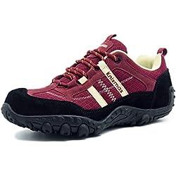 Knixmax Zapatillas Trekking para Mujer,Zapatos de Senderismo Calzado Trekking Escalada Ligeros Cómodos y Transpirables Outdoor Zapatos Low-Top Antideslizante Zapatos de Deporte EU37 (UK4) Rojo