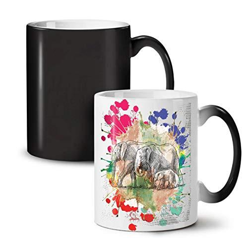 Wellcoda Elefant Familie Farbwechselbecher, Tiere Tasse - Großer, Easy-Grip-Griff, Wärmeaktiviert, Ideal für Kaffee- und Teetrinker
