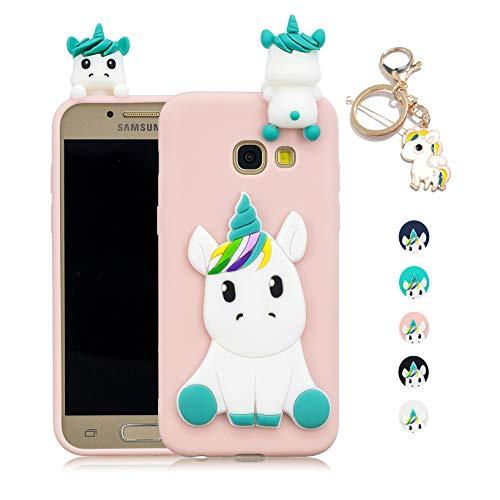564a2c0d2b0 Kawaii-Shop Funda Samsung Galaxy A5 2016 Silicona Cover, Rosa Unicornio 3D  Squishy Kawaii