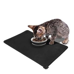 Tapis d'Alimentation pour animaux, Poppypet aliments pour animaux Pet Gamelle pour chiens et chats, Silicone aux normes FDA de première qualité, Taille 47cm x 30cm (Noir)