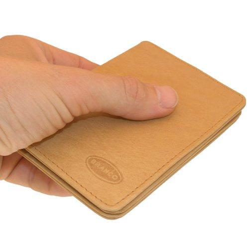 A7 Ausweishülle / Kreditkartenetui aus Leder, für Damen und Herren, Natur-Beige, Branco 302