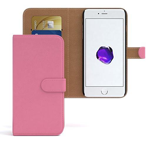 "iPhone 8 Hülle / iPhone 7 Wallet Case - EAZY CASE Bookstyle Cover ""VINTAGE"" Klapphülle für Apple iPhone 7 & iPhone 8 - Edle Schutzhülle als Geldbeutel mit Kartenfach in Anthrazit Schwarz Rosa - Uni"