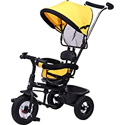 R for Rabbit Tiny Toes Sportz - The Stylish Plug and Play Baby Tricycle for Kids - Baby with Rubber Wheels (Yellow)