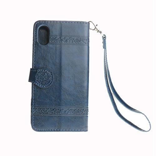 custodia iphone x pelle blu