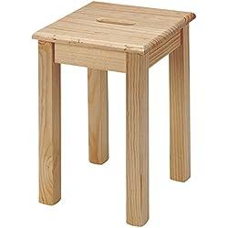 Taburete de madera de pino, Alto 44.5 cms, Sin Barniz