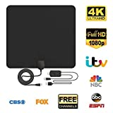HD Digital TV Antenna, Amplified Indoor TV Aerial 80Miles Range 130KM- Support 4K