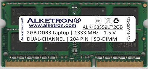 Alketron 2GB 1333MHz SODIMM Dual Channel DDR3 RAM for Laptop/Notebook