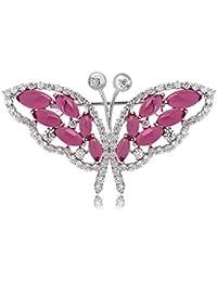 Beydodo Brautjungfer Brosche Anstecknadel Schmetterling Blume mit Strass Versilbert Broschen für Kleidung Schmuck Broschen & Anstecknadeln