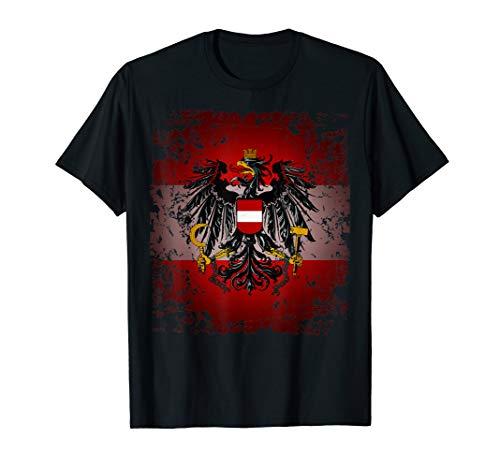 Österreich T-Shirt Rot Weiß Rot mit Adler Retro Vintage Look