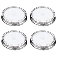 G.a HOMEFAVOR 4-Pack Waterless Silicone Fermentation Jar Airlocks Lids Kit + Stainless Steel Bands for Wide Mouth Mason Jars, Fermenting Pickle Jar Lids for Vegetables, Sauerkraut, Kimchi (White)