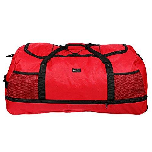 3ruedas, bolsa de viaje, bolsa de deporte, bolsa de ocio sólo 1,4kg, 80cm, volumen hasta 140L-4colores, RED (negro) - LL-211011-NR