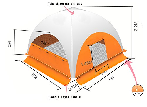 Aufblasbar Bildschirm house-5× 5× 3.2m-instant Himmel Shelter Bildschirm House-4Wände, 3Fenster, 1Tür–Event Shelter Up enthalten Zelt Boden, Luftpumpe, Zeltheringen