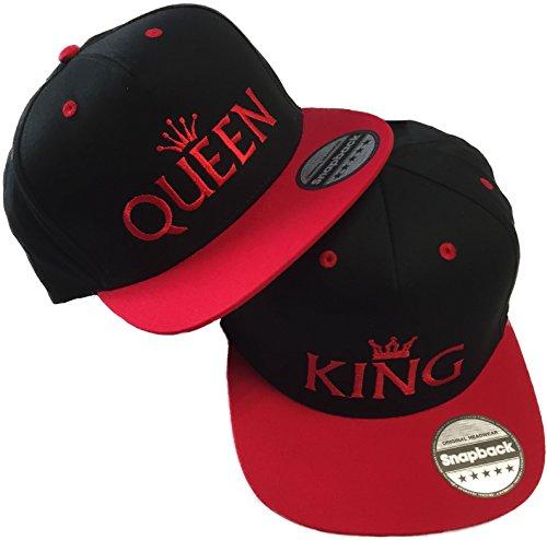 Nashville print factory Snapback Basecap Bestickt mit Motiv Krone | King & Queen Stickerei Partner-Cap für Sie & Ihn (Rot)