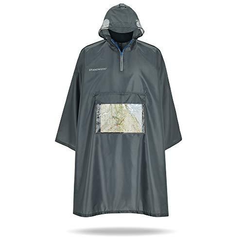 STANDWERK Regenponcho - Regenschutz für das Wandern mit transparenter Brusttasche, Kapuze, Sichtfenster - Regencape geeignet für Damen, Herren, mit Rucksack - Wasserdicht, Outdoor, Innovativ