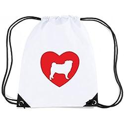 T-Shirtshock - Mochila Budget Gymsac CIT0186 Pug Love, Talla Capacidad 11 litros